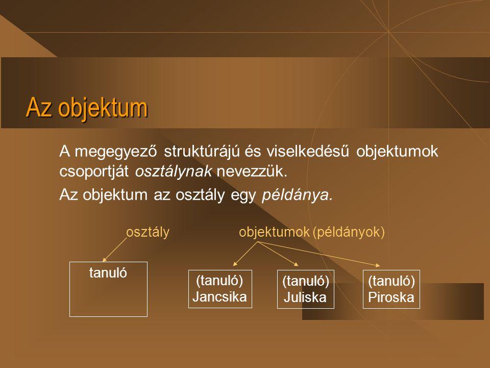 Az objektum A megegyező struktúrájú és viselkedésű objektumok csoportját osztálynak nevezzük. Az objektum az osztály egy példánya. tanuló (tanuló) Jan