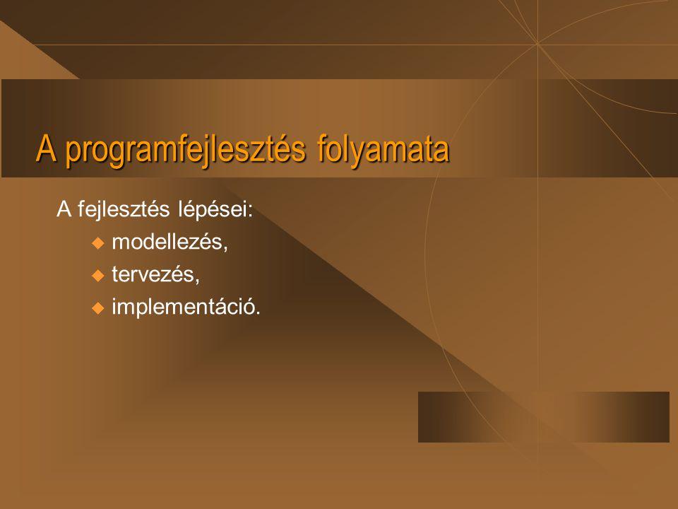 A programfejlesztés folyamata A fejlesztés lépései: u modellezés, u tervezés, u implementáció.