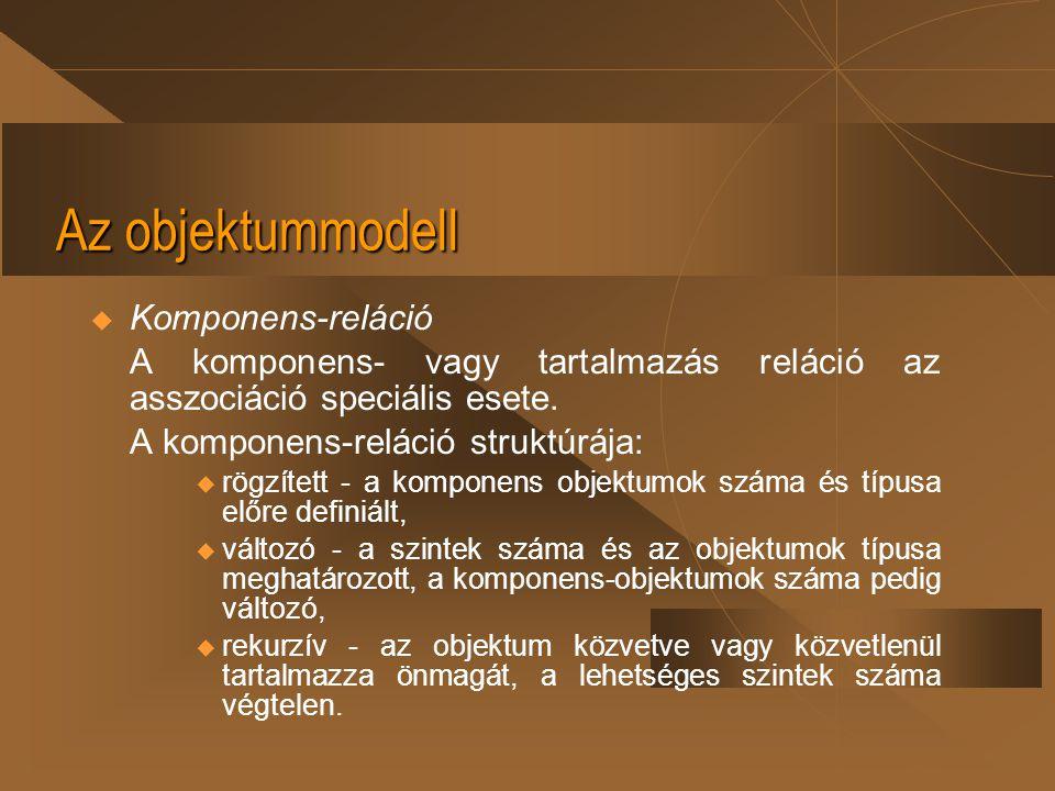 Az objektummodell  Komponens-reláció A komponens- vagy tartalmazás reláció az asszociáció speciális esete. A komponens-reláció struktúrája:  rögzíte