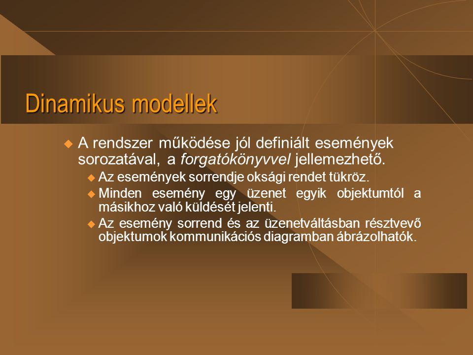 Dinamikus modellek u A rendszer működése jól definiált események sorozatával, a forgatókönyvvel jellemezhető.  Az események sorrendje oksági rendet t