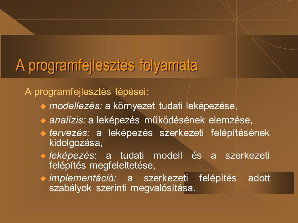 A programfejlesztés folyamata A programfejlesztés lépései: u modellezés: a környezet tudati leképezése, u analízis: a leképezés működésének elemzése,