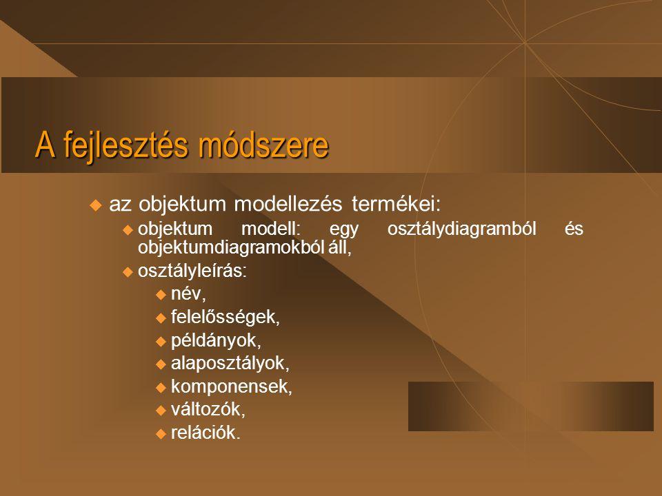 A fejlesztés módszere u az objektum modellezés termékei:  objektum modell: egy osztálydiagramból és objektumdiagramokból áll,  osztályleírás:  név,