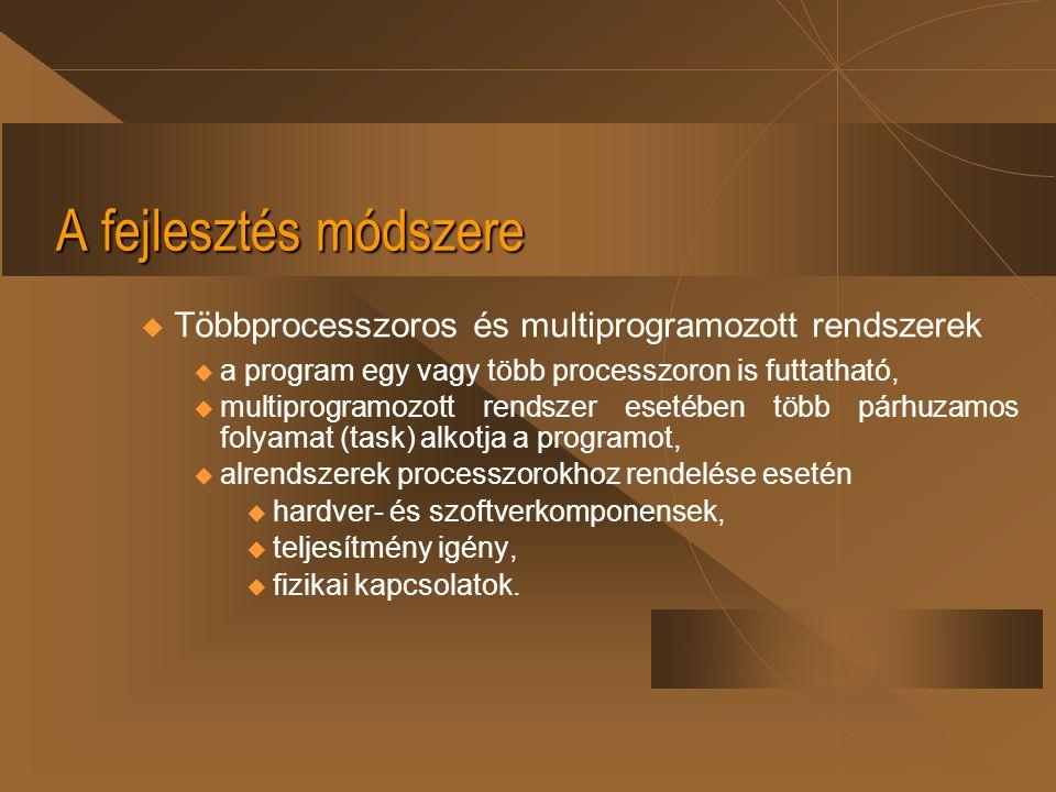 A fejlesztés módszere u Többprocesszoros és multiprogramozott rendszerek  a program egy vagy több processzoron is futtatható,  multiprogramozott ren