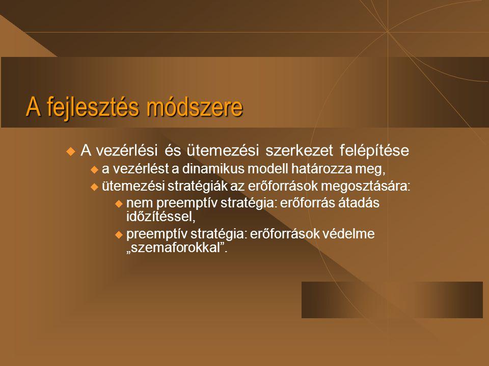 A fejlesztés módszere u A vezérlési és ütemezési szerkezet felépítése  a vezérlést a dinamikus modell határozza meg,  ütemezési stratégiák az erőfor