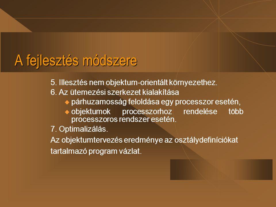 A fejlesztés módszere 5. Illesztés nem objektum-orientált környezethez. 6. Az ütemezési szerkezet kialakítása  párhuzamosság feloldása egy processzor