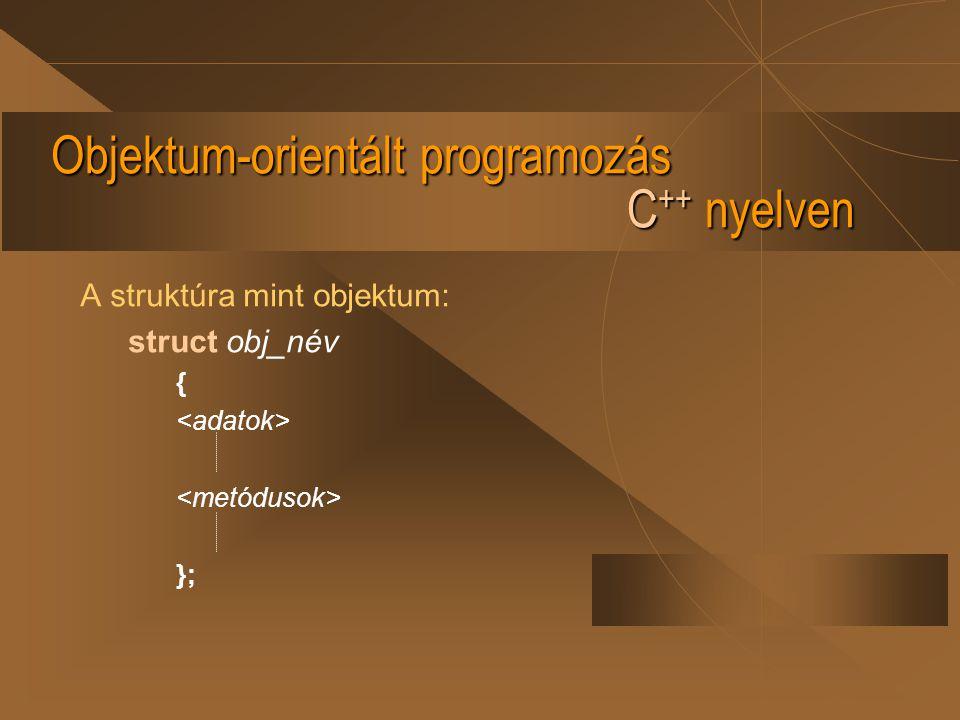 Objektum-orientált programozás C ++ nyelven A struktúra mint objektum: struct obj_név { };