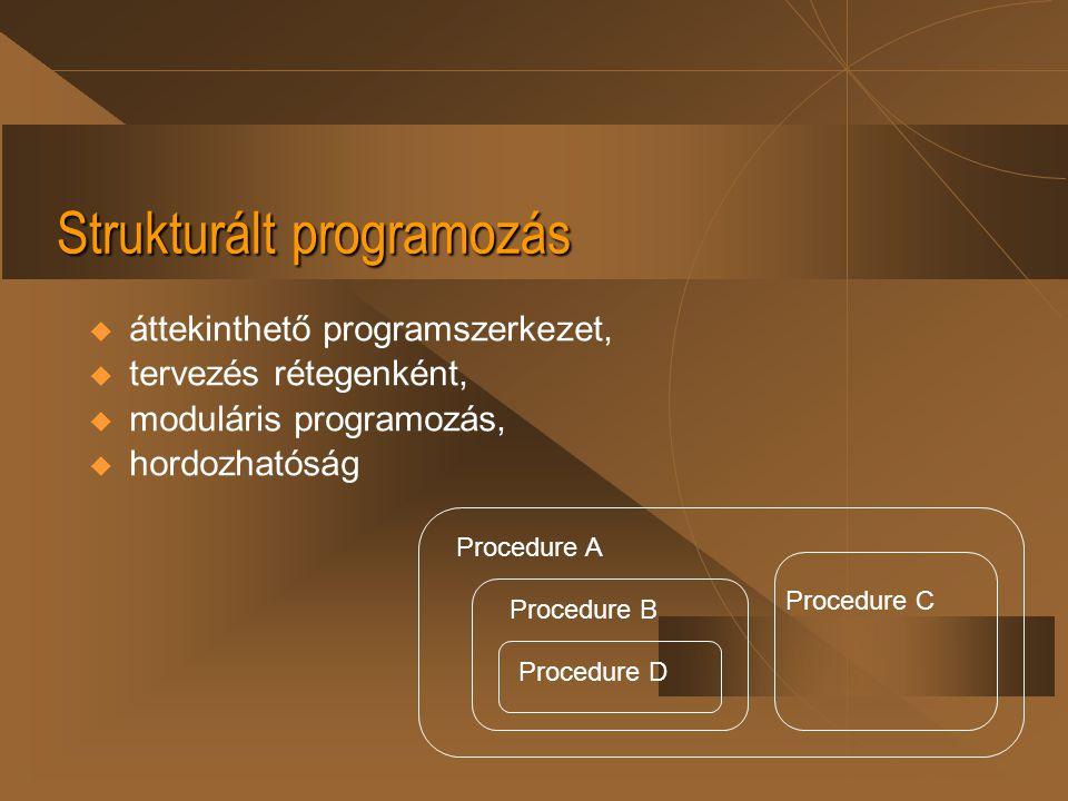 Strukturált programozás  áttekinthető programszerkezet,  tervezés rétegenként,  moduláris programozás,  hordozhatóság Procedure A Procedure B Proc