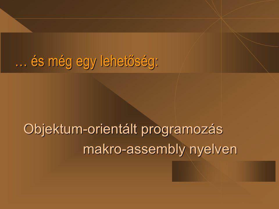 Objektum-orientált programozás macro-assembly nyelven Az assembly nyelv rendszerelemei: u utasítások, u direktívák.