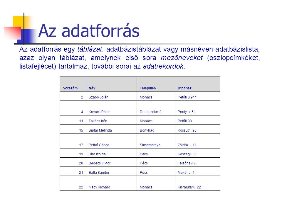Az adatforrás Az adatforrás egy táblázat: adatbázistáblázat vagy másnéven adatbázislista, azaz olyan táblázat, amelynek első sora mezőneveket (oszlopc