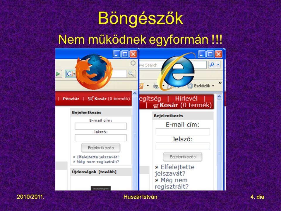 2010/2011.Huszár István4. dia Böngészők Nem működnek egyformán !!!