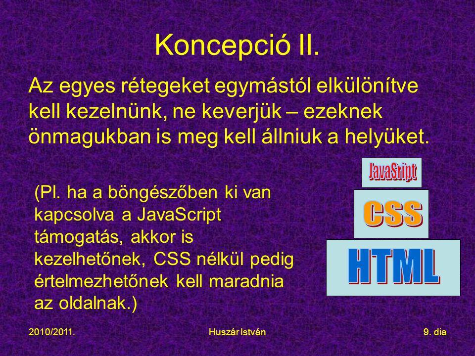 2010/2011.Huszár István9. dia Koncepció II.