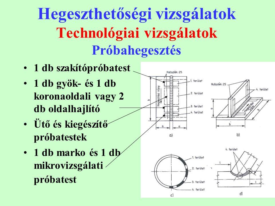 17 Hegeszthetőségi vizsgálatok Technológiai vizsgálatok Próbahegesztés 1 db szakítópróbatest 1 db gyök- és 1 db koronaoldali vagy 2 db oldalhajlító Üt