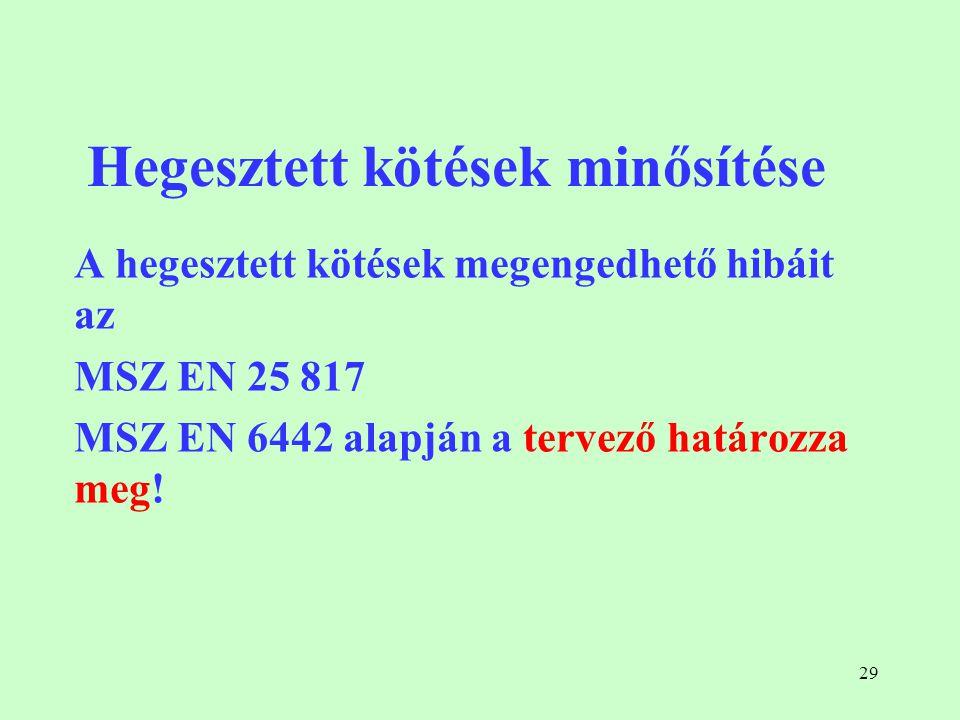 29 Hegesztett kötések minősítése A hegesztett kötések megengedhető hibáit az MSZ EN 25 817 MSZ EN 6442 alapján a tervező határozza meg!