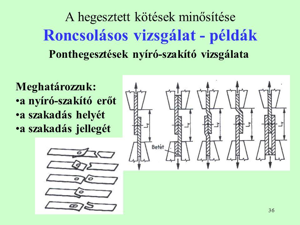 36 A hegesztett kötések minősítése Roncsolásos vizsgálat - példák Ponthegesztések nyíró-szakító vizsgálata Meghatározzuk: a nyíró-szakító erőt a szaka