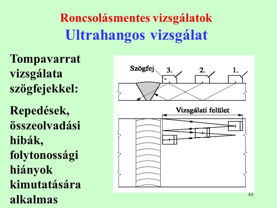 40 Roncsolásmentes vizsgálatok Ultrahangos vizsgálat Tompavarrat vizsgálata szögfejekkel: Repedések, összeolvadási hibák, folytonossági hiányok kimuta