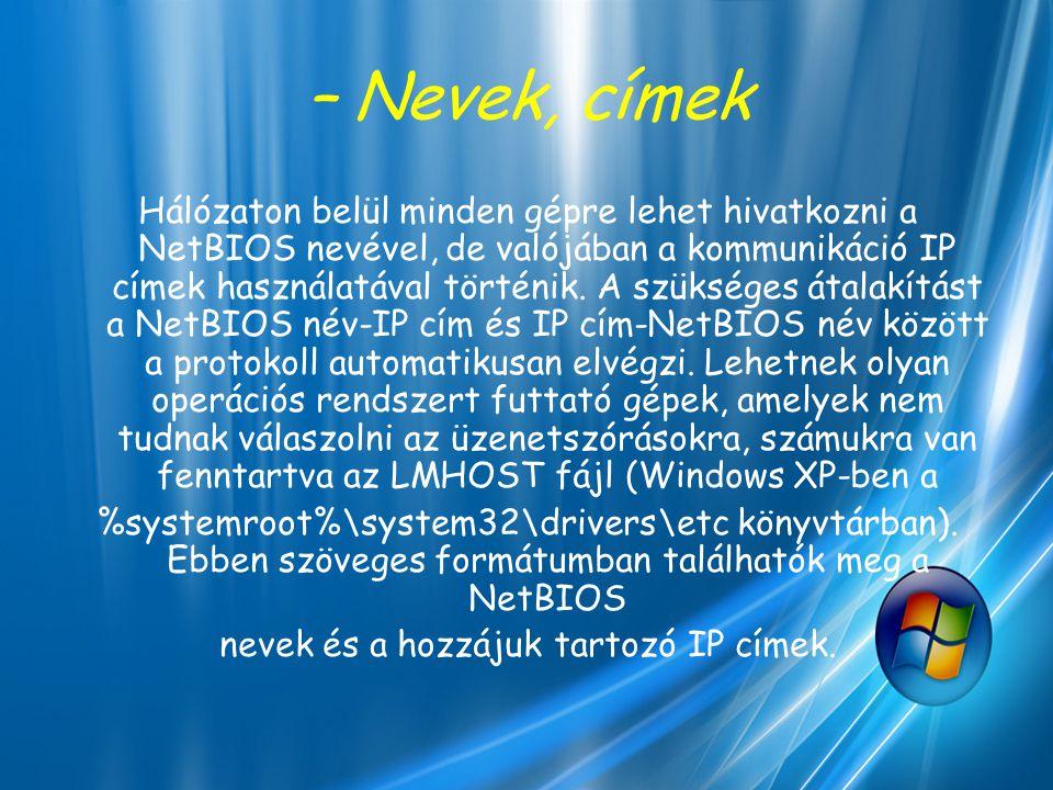 – Nevek, címek Hálózaton belül minden gépre lehet hivatkozni a NetBIOS nevével, de valójában a kommunikáció IP címek használatával történik. A szükség
