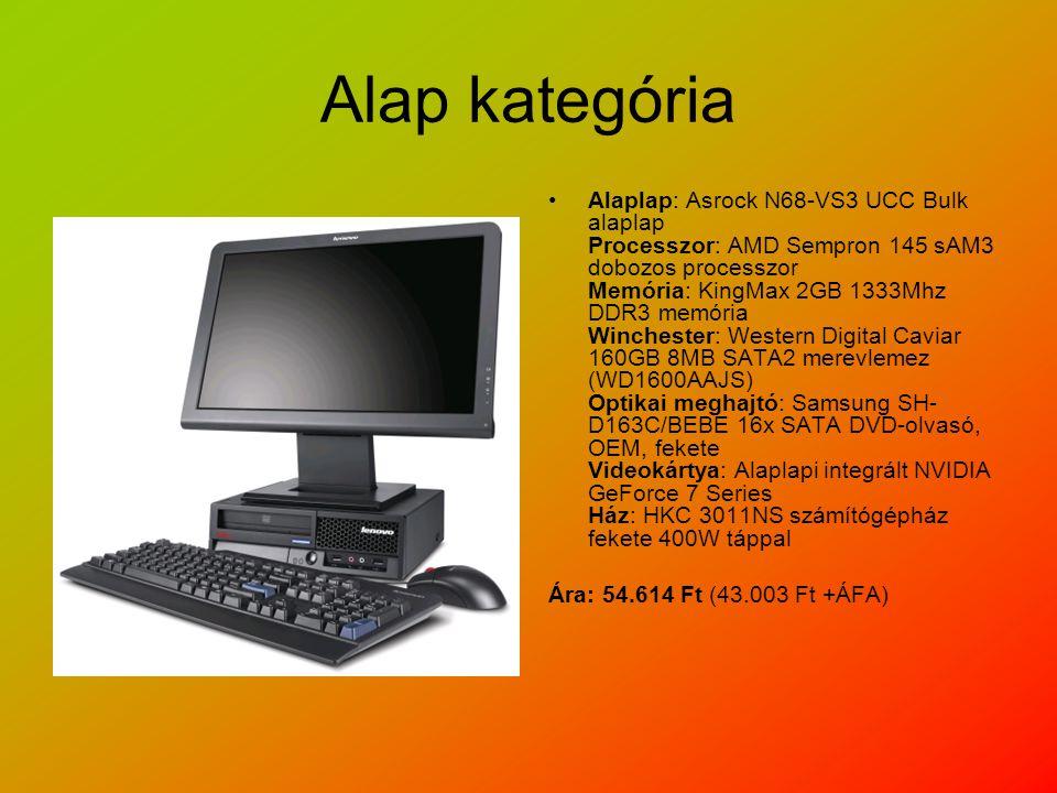 Alap kategória Alaplap: Asrock N68-VS3 UCC Bulk alaplap Processzor: AMD Sempron 145 sAM3 dobozos processzor Memória: KingMax 2GB 1333Mhz DDR3 memória Winchester: Western Digital Caviar 160GB 8MB SATA2 merevlemez (WD1600AAJS) Optikai meghajtó: Samsung SH- D163C/BEBE 16x SATA DVD-olvasó, OEM, fekete Videokártya: Alaplapi integrált NVIDIA GeForce 7 Series Ház: HKC 3011NS számítógépház fekete 400W táppal Ára: 54.614 Ft (43.003 Ft +ÁFA)