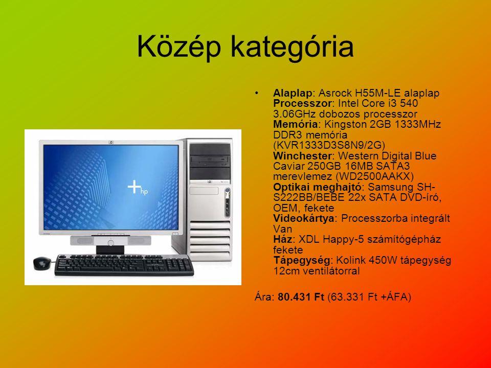 Közép kategória Alaplap: Asrock H55M-LE alaplap Processzor: Intel Core i3 540 3.06GHz dobozos processzor Memória: Kingston 2GB 1333MHz DDR3 memória (KVR1333D3S8N9/2G) Winchester: Western Digital Blue Caviar 250GB 16MB SATA3 merevlemez (WD2500AAKX) Optikai meghajtó: Samsung SH- S222BB/BEBE 22x SATA DVD-író, OEM, fekete Videokártya: Processzorba integrált Van Ház: XDL Happy-5 számítógépház fekete Tápegység: Kolink 450W tápegység 12cm ventilátorral Ára: 80.431 Ft (63.331 Ft +ÁFA)