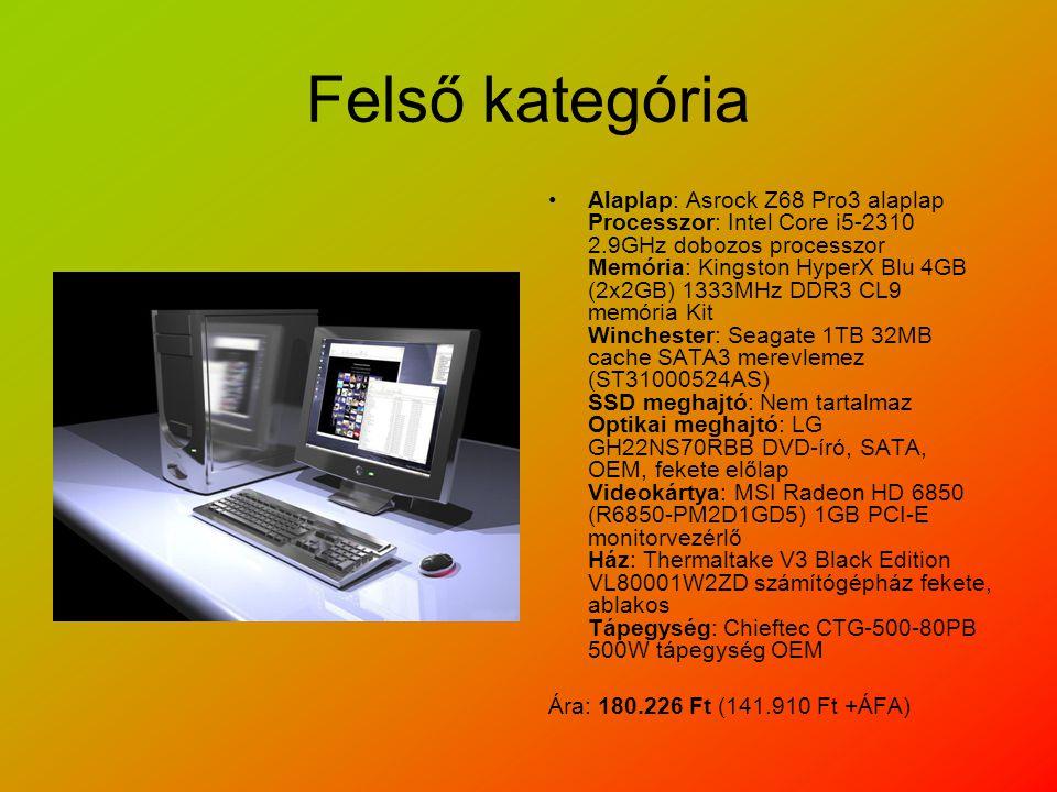 Felső kategória Alaplap: Asrock Z68 Pro3 alaplap Processzor: Intel Core i5-2310 2.9GHz dobozos processzor Memória: Kingston HyperX Blu 4GB (2x2GB) 1333MHz DDR3 CL9 memória Kit Winchester: Seagate 1TB 32MB cache SATA3 merevlemez (ST31000524AS) SSD meghajtó: Nem tartalmaz Optikai meghajtó: LG GH22NS70RBB DVD-író, SATA, OEM, fekete előlap Videokártya: MSI Radeon HD 6850 (R6850-PM2D1GD5) 1GB PCI-E monitorvezérlő Ház: Thermaltake V3 Black Edition VL80001W2ZD számítógépház fekete, ablakos Tápegység: Chieftec CTG-500-80PB 500W tápegység OEM Ára: 180.226 Ft (141.910 Ft +ÁFA)