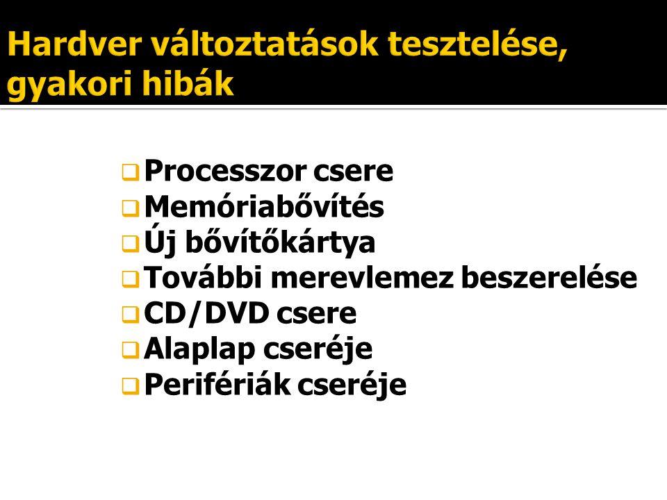  Processzor csere  Memóriabővítés  Új bővítőkártya  További merevlemez beszerelése  CD/DVD csere  Alaplap cseréje  Perifériák cseréje