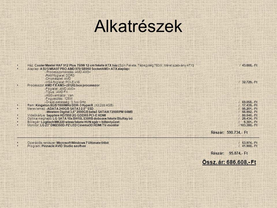 Alkatrészek Ház: Cooler Master HAF 912 Plus 750W 12 cm fekete ATX ház (Szín Fekete, Tápegység 750W, Méret szabvány ATX) / 43.668,- Ft Alaplap: ASUS M5