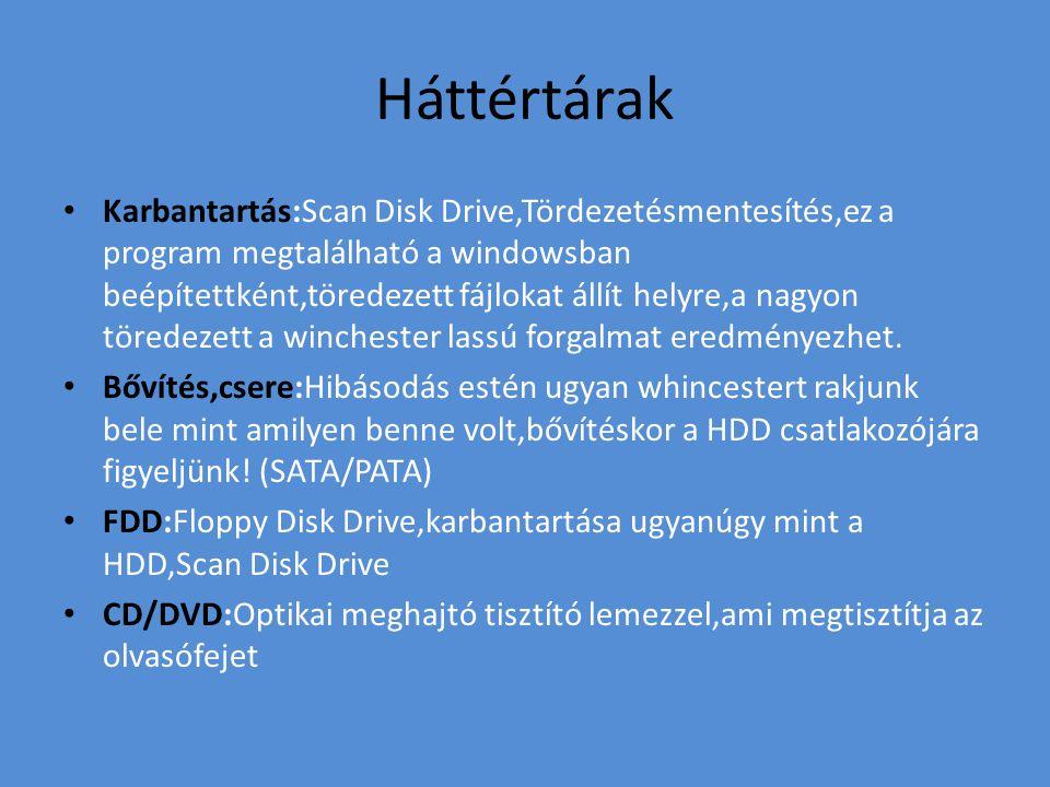 Háttértárak Karbantartás:Scan Disk Drive,Tördezetésmentesítés,ez a program megtalálható a windowsban beépítettként,töredezett fájlokat állít helyre,a