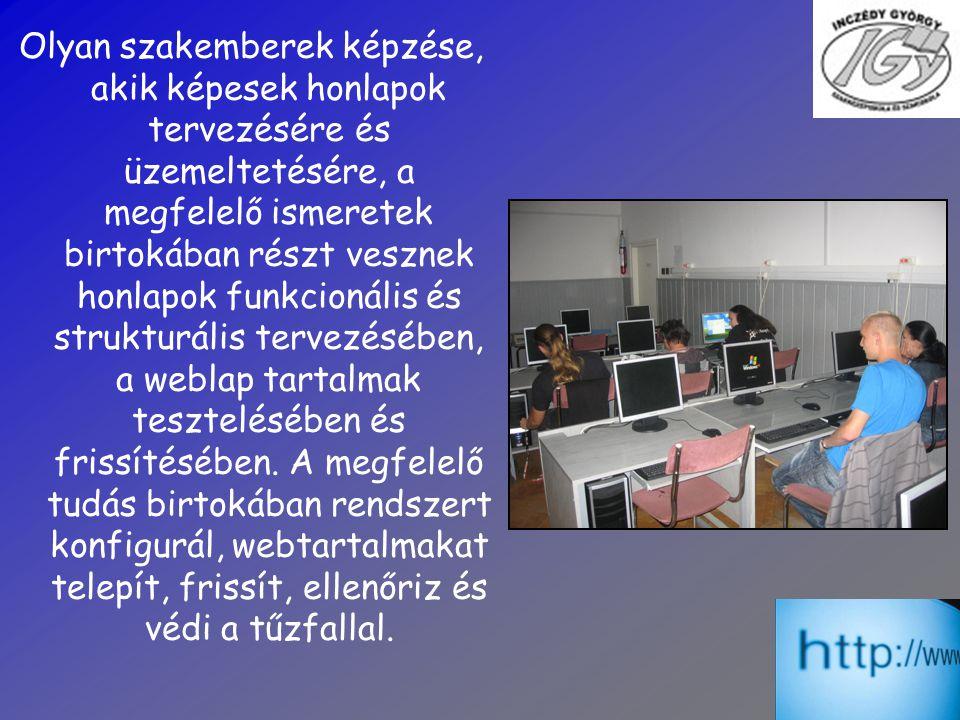 Olyan szakemberek képzése, akik képesek honlapok tervezésére és üzemeltetésére, a megfelelő ismeretek birtokában részt vesznek honlapok funkcionális és strukturális tervezésében, a weblap tartalmak tesztelésében és frissítésében.