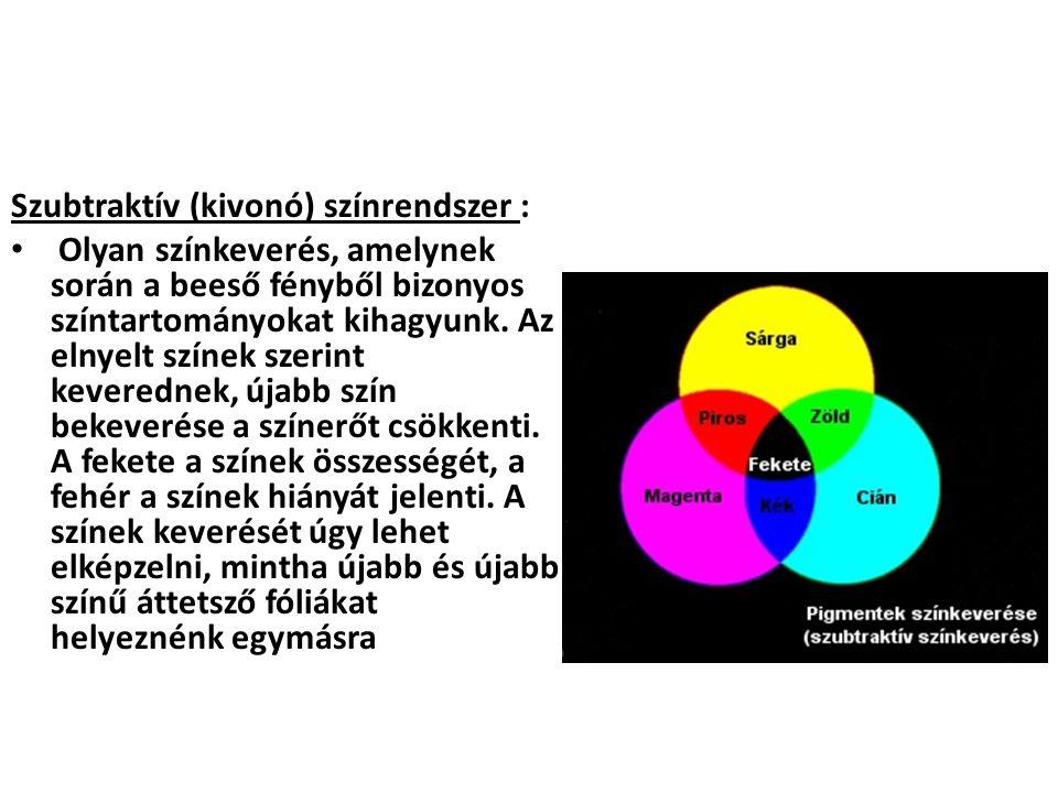 Szubtraktív (kivonó) színrendszer : Olyan színkeverés, amelynek során a beeső fényből bizonyos színtartományokat kihagyunk. Az elnyelt színek szerint