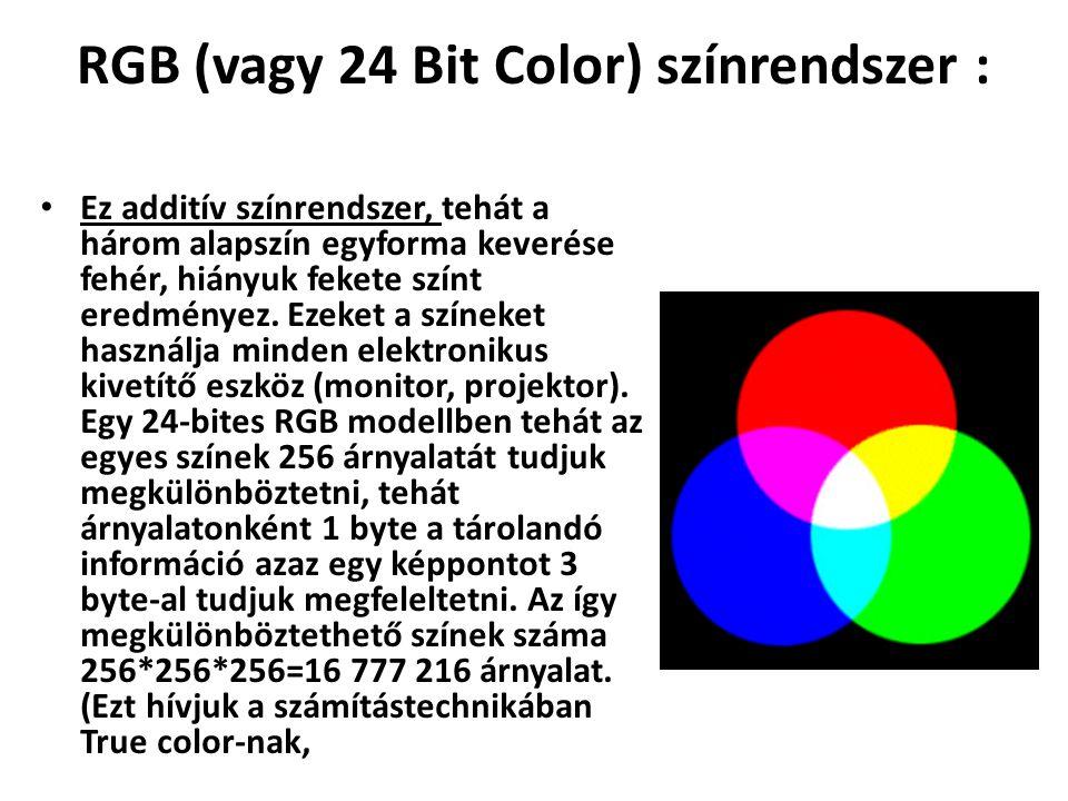 RGB (vagy 24 Bit Color) színrendszer : Ez additív színrendszer, tehát a három alapszín egyforma keverése fehér, hiányuk fekete színt eredményez. Ezeke