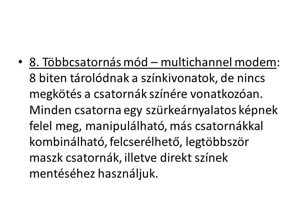 8. Többcsatornás mód – multichannel modem: 8 biten tárolódnak a színkivonatok, de nincs megkötés a csatornák színére vonatkozóan. Minden csatorna egy