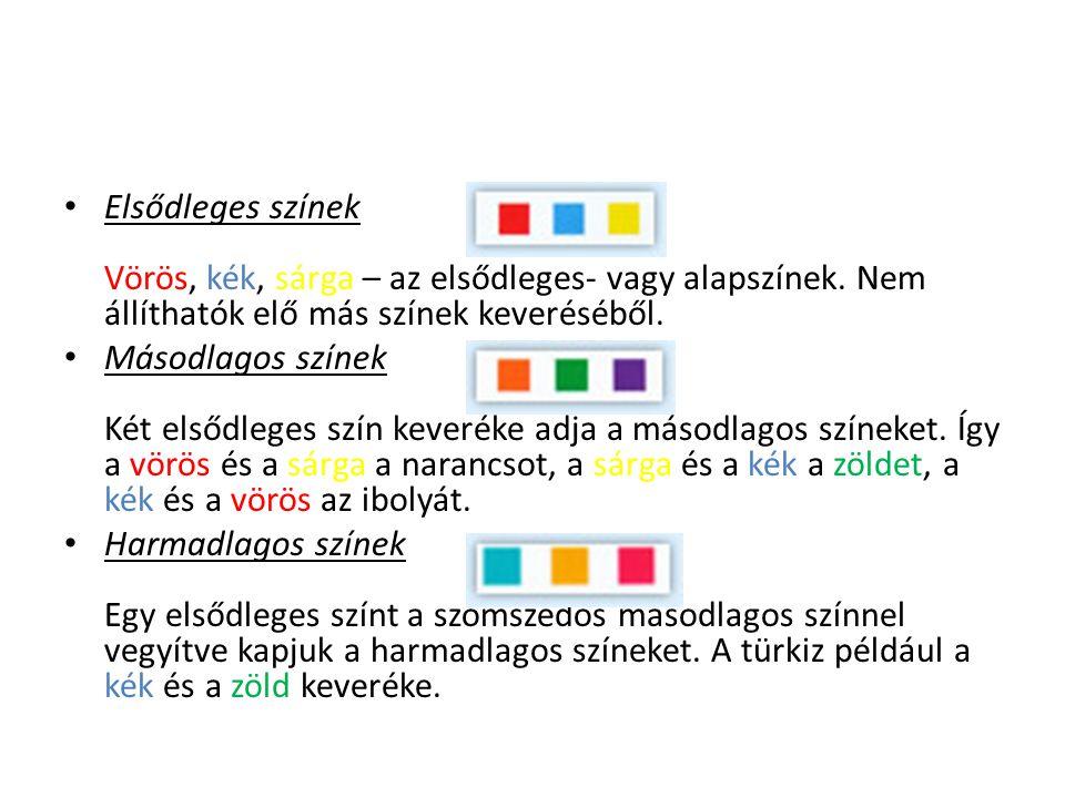 Elsődleges színek Vörös, kék, sárga – az elsődleges- vagy alapszínek. Nem állíthatók elő más színek keveréséből. Másodlagos színek Két elsődleges szín