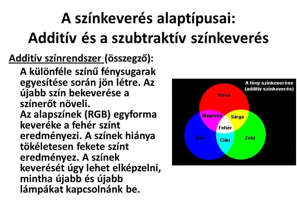 A színkeverés alaptípusai: Additív és a szubtraktív színkeverés Additív színrendszer (összegző): A különféle színű fénysugarak egyesítése során jön lé