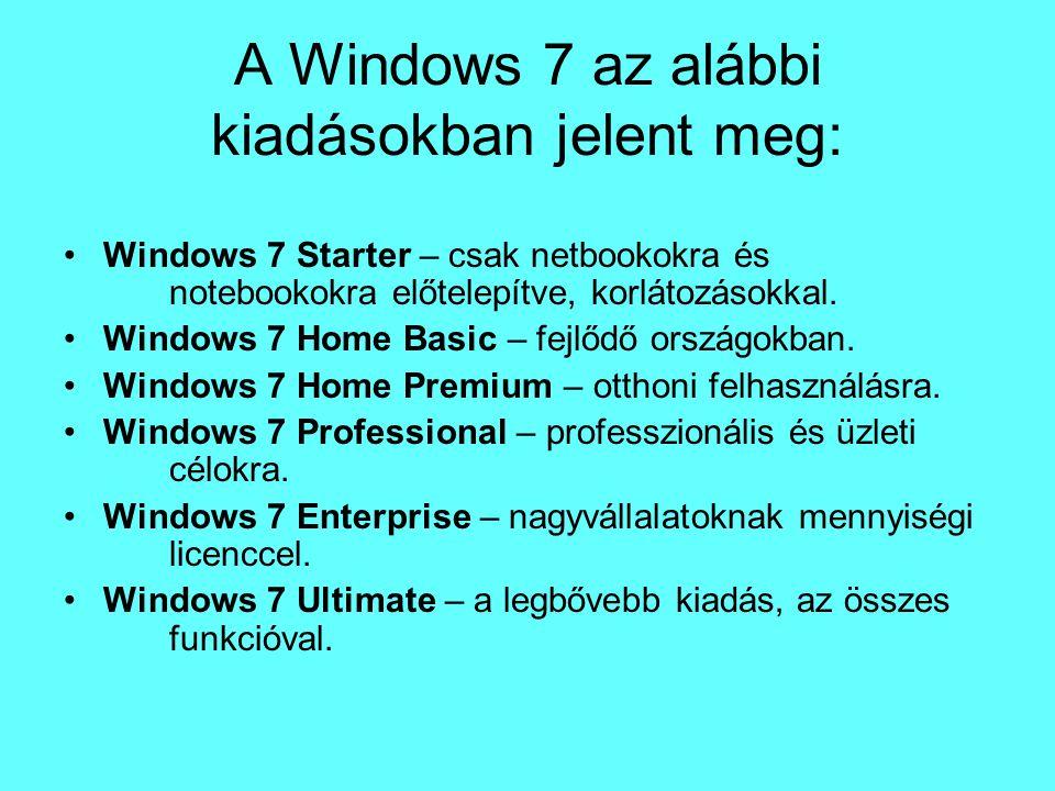 A Windows 7 az alábbi kiadásokban jelent meg: Windows 7 Starter – csak netbookokra és notebookokra előtelepítve, korlátozásokkal. Windows 7 Home Basic