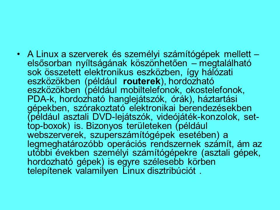 A Linux a szerverek és személyi számítógépek mellett – elsősorban nyíltságának köszönhetően – megtalálható sok összetett elektronikus eszközben, így h