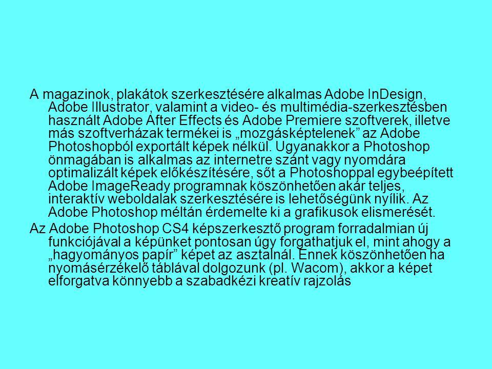 A magazinok, plakátok szerkesztésére alkalmas Adobe InDesign, Adobe Illustrator, valamint a video- és multimédia-szerkesztésben használt Adobe After E