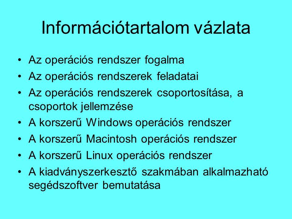Információtartalom vázlata Az operációs rendszer fogalma Az operációs rendszerek feladatai Az operációs rendszerek csoportosítása, a csoportok jellemz