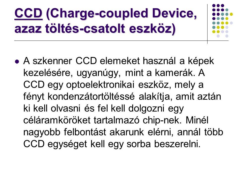 CCD (Charge-coupled Device, azaz töltés-csatolt eszköz) A szkenner CCD elemeket használ a képek kezelésére, ugyanúgy, mint a kamerák. A CCD egy optoel