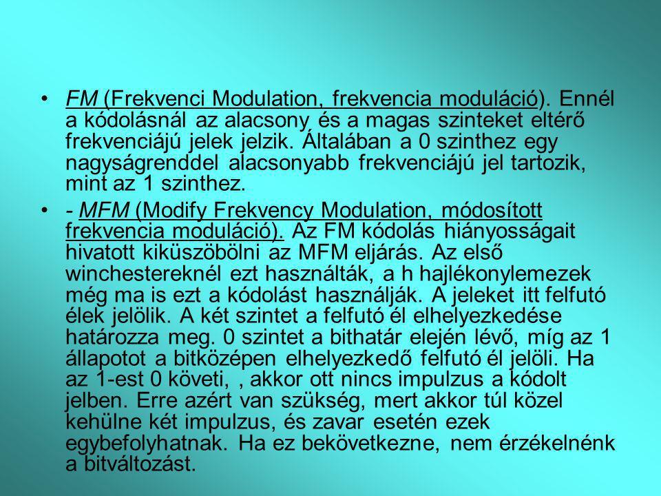 FM (Frekvenci Modulation, frekvencia moduláció). Ennél a kódolásnál az alacsony és a magas szinteket eltérő frekvenciájú jelek jelzik. Általában a 0 s