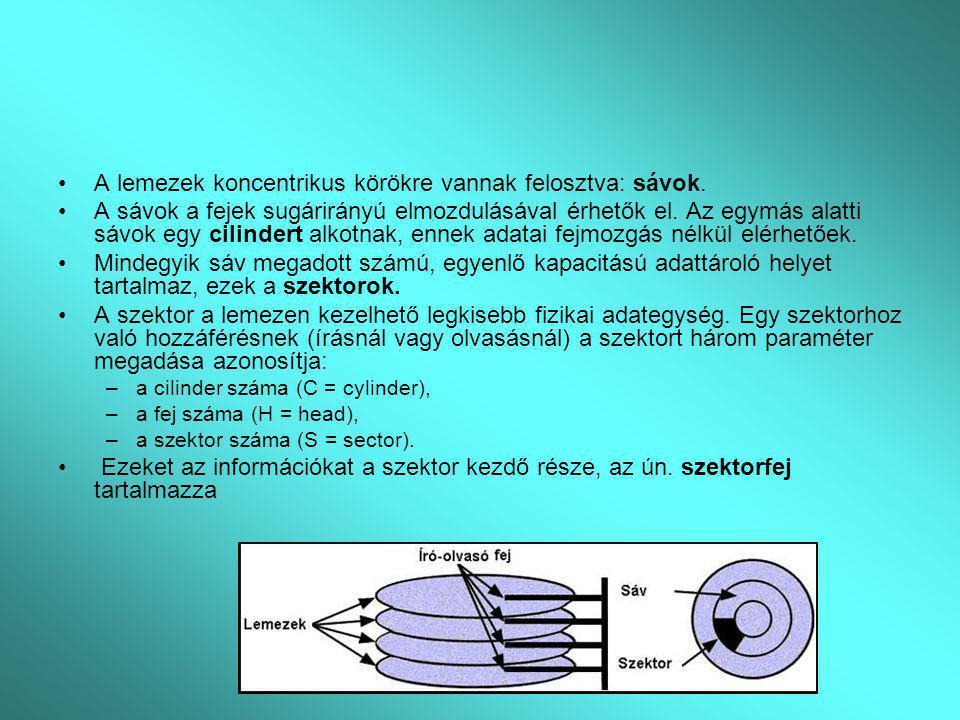 A lemezek koncentrikus körökre vannak felosztva: sávok. A sávok a fejek sugárirányú elmozdulásával érhetők el. Az egymás alatti sávok egy cilindert al