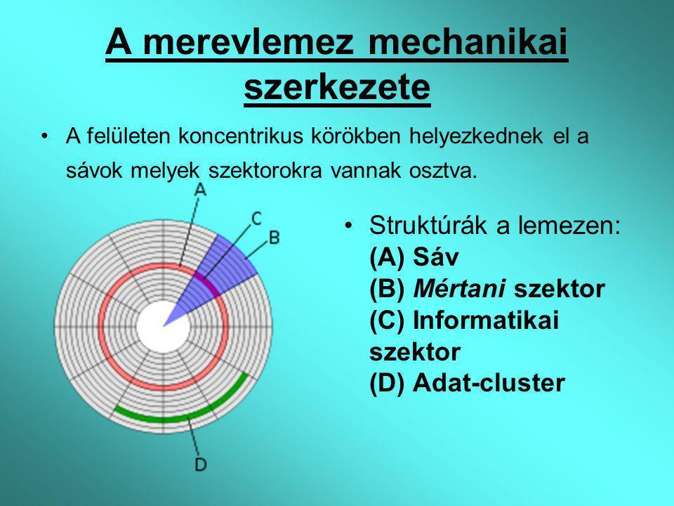A merevlemez mechanikai szerkezete A felületen koncentrikus körökben helyezkednek el a sávok melyek szektorokra vannak osztva. Struktúrák a lemezen: (