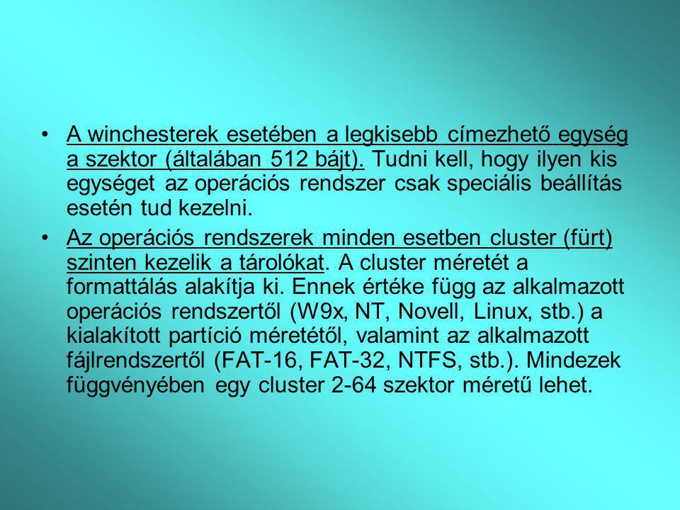 A winchesterek esetében a legkisebb címezhető egység a szektor (általában 512 bájt). Tudni kell, hogy ilyen kis egységet az operációs rendszer csak sp