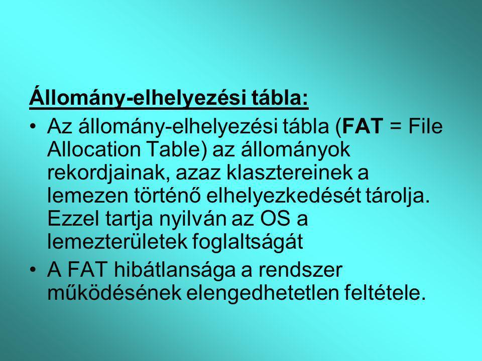Állomány-elhelyezési tábla: Az állomány-elhelyezési tábla (FAT = File Allocation Table) az állományok rekordjainak, azaz klasztereinek a lemezen törté