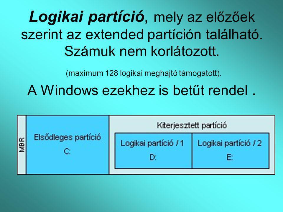 Logikai partíció, mely az előzőek szerint az extended partíción található. Számuk nem korlátozott. (maximum 128 logikai meghajtó támogatott). A Window