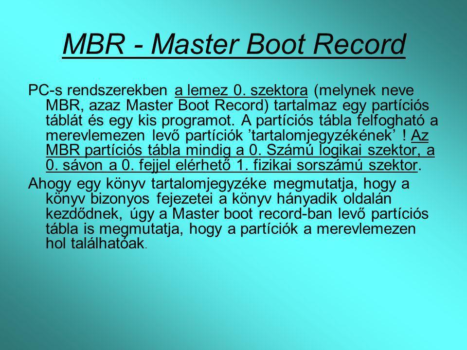 MBR - Master Boot Record PC-s rendszerekben a lemez 0. szektora (melynek neve MBR, azaz Master Boot Record) tartalmaz egy partíciós táblát és egy kis