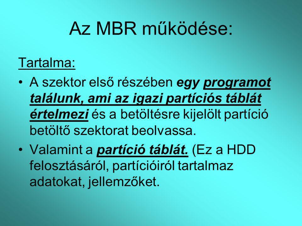 Az MBR működése: Tartalma: A szektor első részében egy programot találunk, ami az igazi partíciós táblát értelmezi és a betöltésre kijelölt partíció b