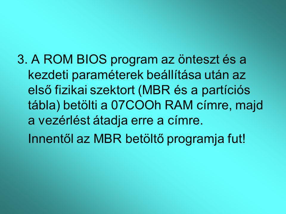 3. A ROM BIOS program az önteszt és a kezdeti paraméterek beállítása után az első fizikai szektort (MBR és a partíciós tábla) betölti a 07COOh RAM cím