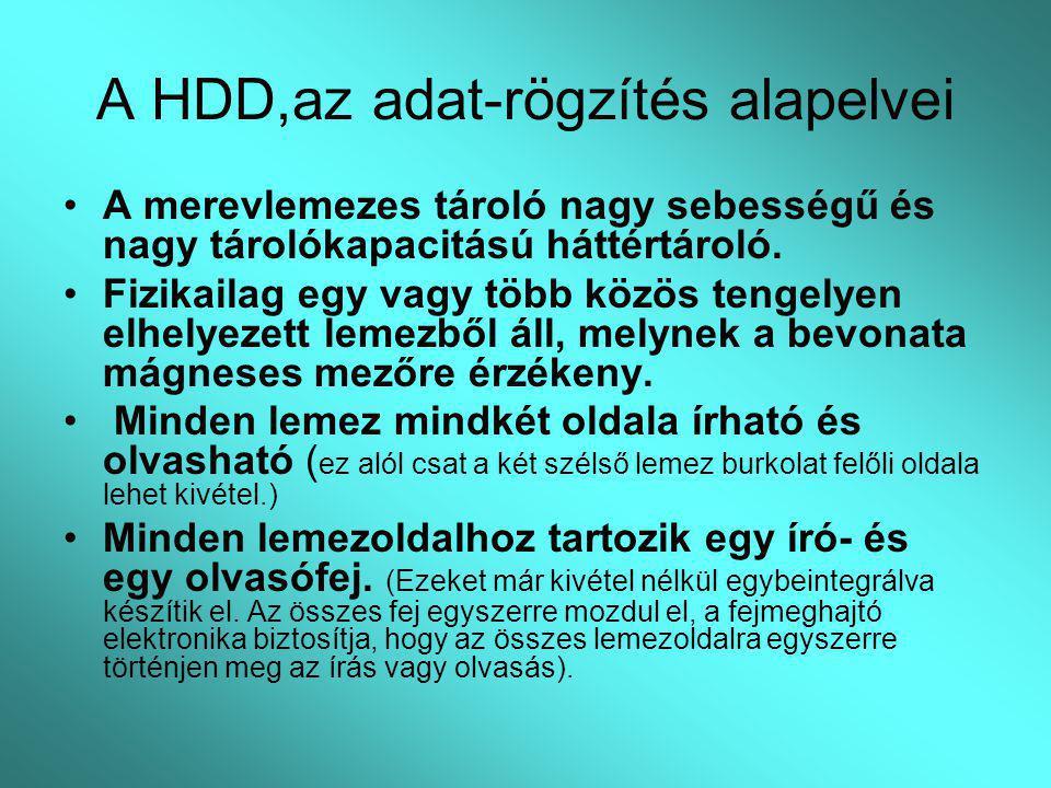 A HDD,az adat-rögzítés alapelvei A merevlemezes tároló nagy sebességű és nagy tárolókapacitású háttértároló. Fizikailag egy vagy több közös tengelyen