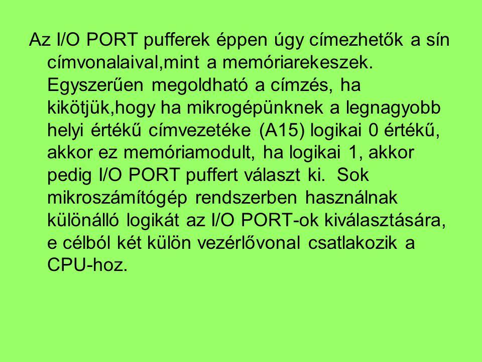 Az I/O PORT pufferek éppen úgy címezhetők a sín címvonalaival,mint a memóriarekeszek. Egyszerűen megoldható a címzés, ha kikötjük,hogy ha mikrogépünkn