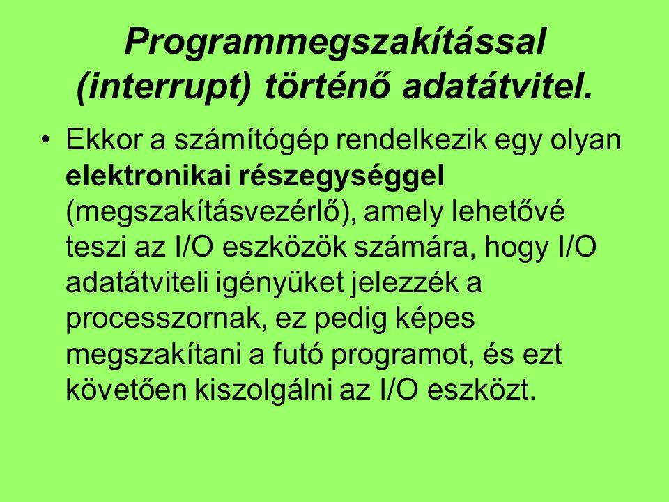 Programmegszakítással (interrupt) történő adatátvitel. Ekkor a számítógép rendelkezik egy olyan elektronikai részegységgel (megszakításvezérlő), amely