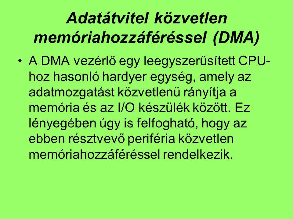 Adatátvitel közvetlen memóriahozzáféréssel (DMA) A DMA vezérlő egy leegyszerűsített CPU- hoz hasonló hardyer egység, amely az adatmozgatást közvetlenü rányítja a memória és az I/O készülék között.